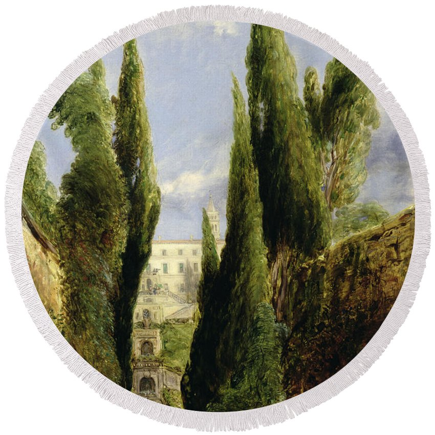 Italian Garden; Gardens; Renaissance Architecture; Staircase; Steps; Cypress Trees Round Beach Towel featuring the painting Villa D'este Tivoli by William Collins
