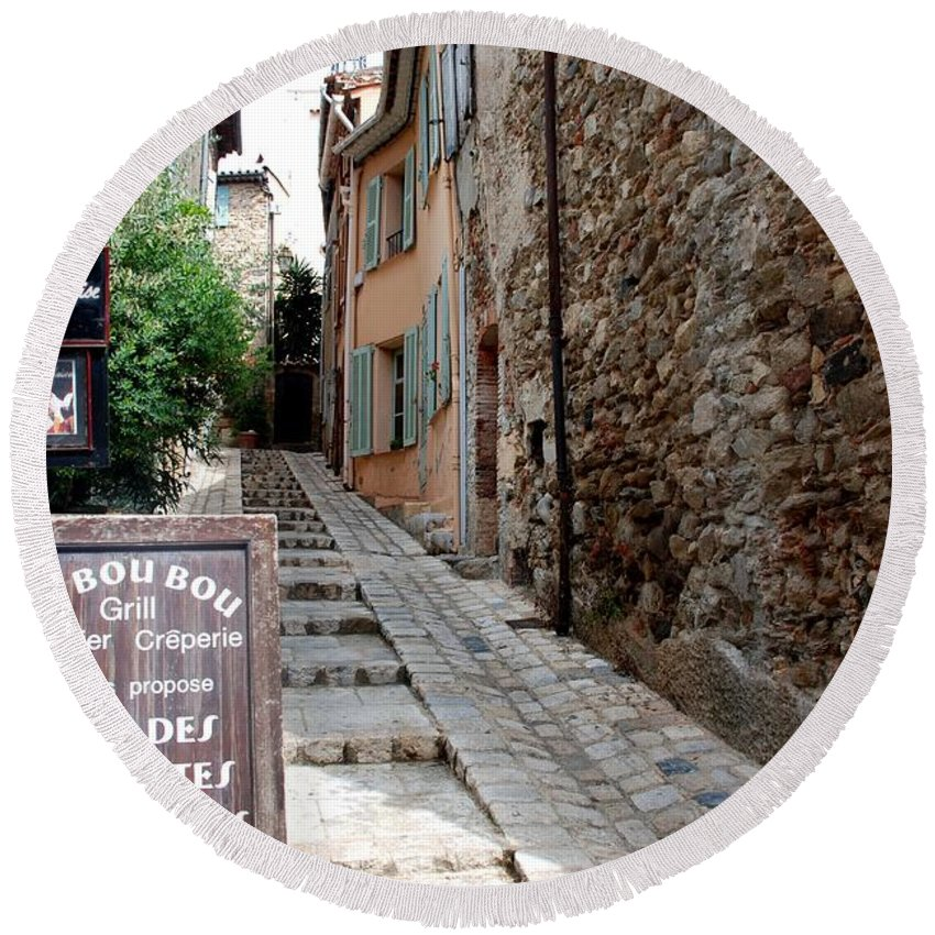 Provence Round Beach Towel featuring the photograph Village Alley by Dany Lison