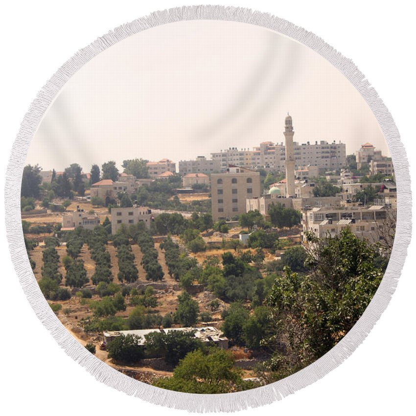 Bethel Round Beach Towel featuring the photograph Village Of Beitin by Munir Alawi
