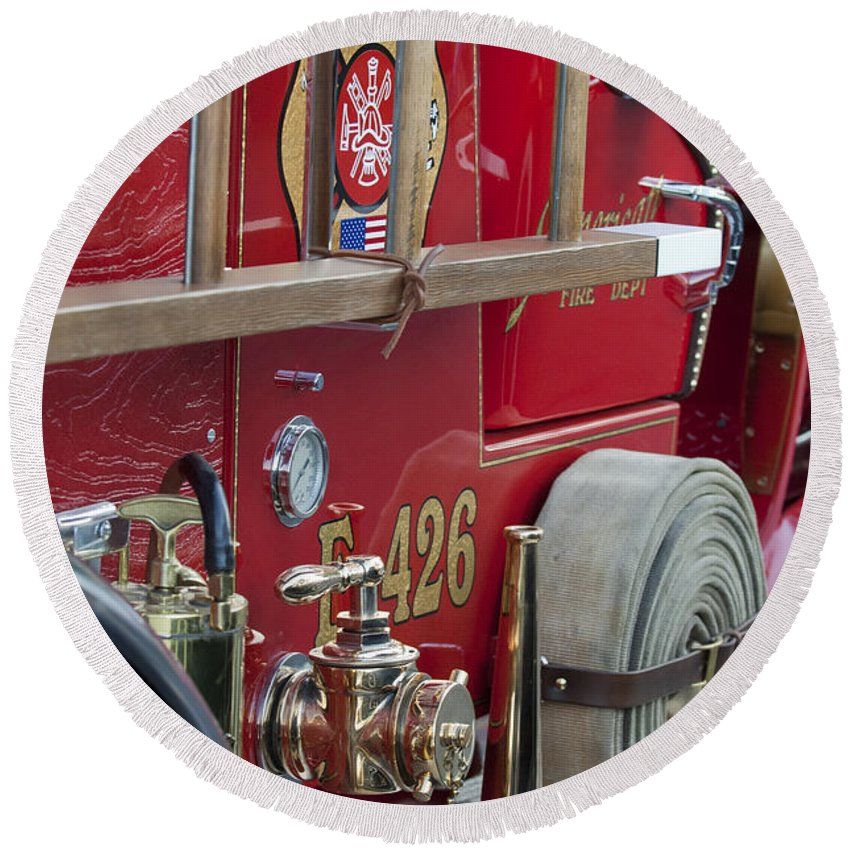 Vintage Fire Truck Round Beach Towel featuring the photograph Vintage Fire Truck 2 by Jill Reger