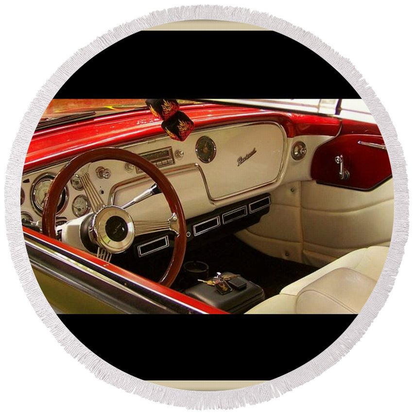 Vintage Packard Interior Round Beach Towel featuring the photograph Vintage Packard Interior by Christy Leigh