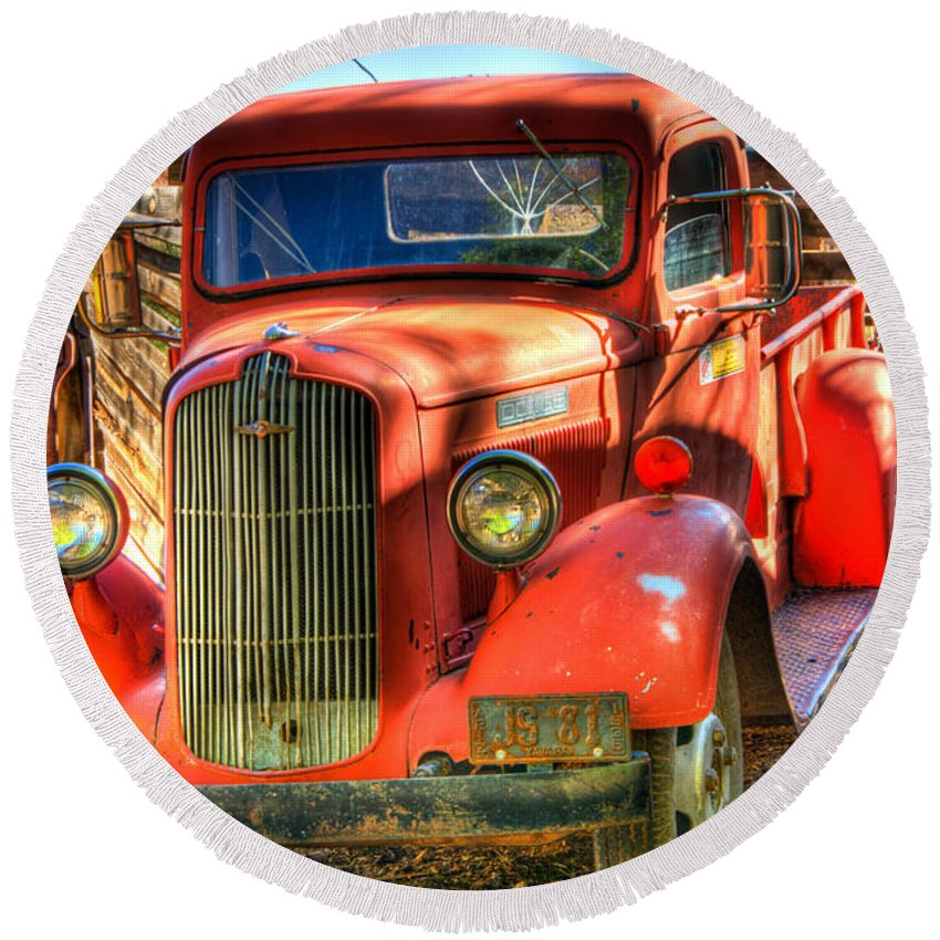 Truck Round Beach Towel featuring the photograph Vintage Red Dodge by Jon Berghoff