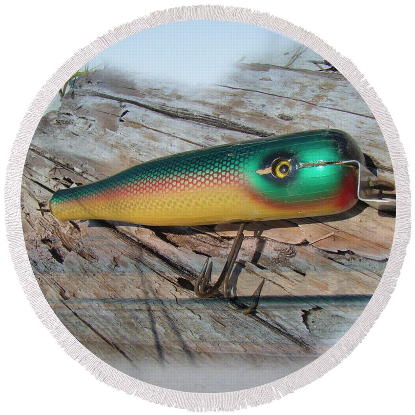 Vintage Round Beach Towel featuring the photograph Vintage Saltwater Fishing Lure - Masterlure Rocket by Mother Nature