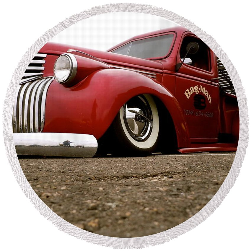 Vintage Round Beach Towel featuring the photograph Vintage Style Hot Rod Truck by Customikes Fun Photography and Film Aka K Mikael Wallin