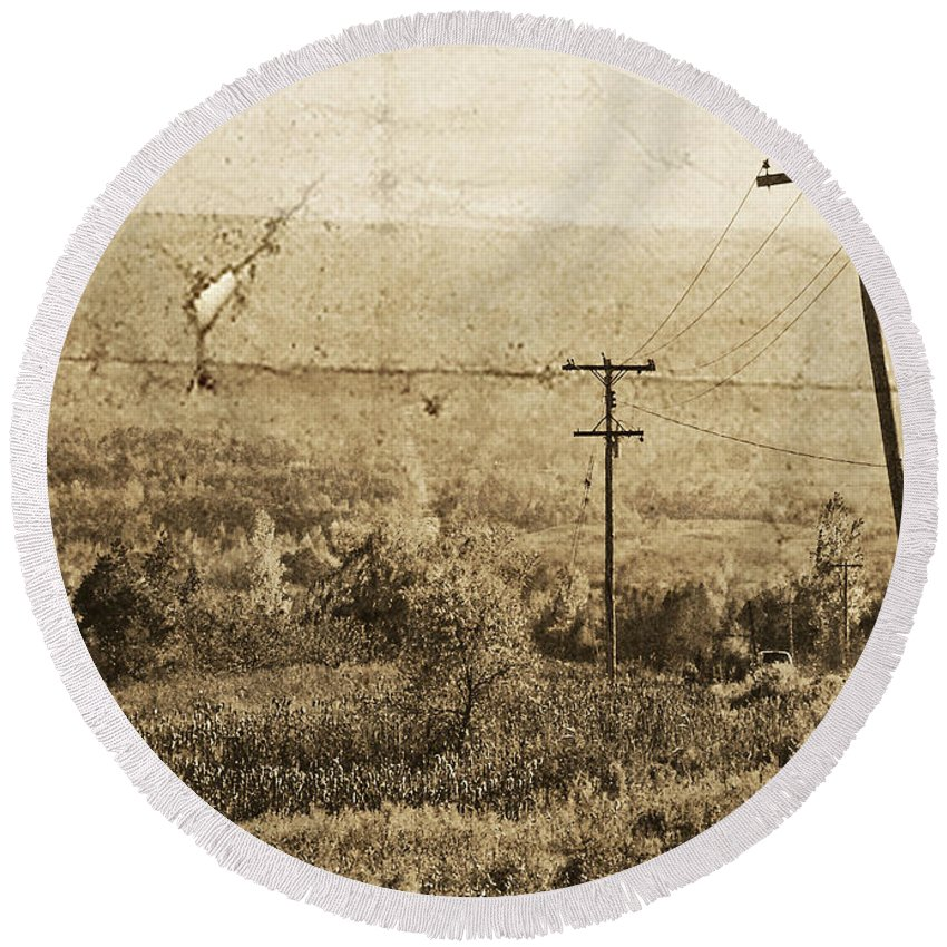 Ontario Round Beach Towel featuring the photograph Vintage View Of Ontario Fields by Traci Cottingham
