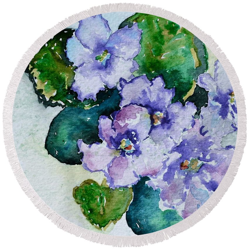 Violets Round Beach Towel featuring the painting Violet Cluster by Beverley Harper Tinsley