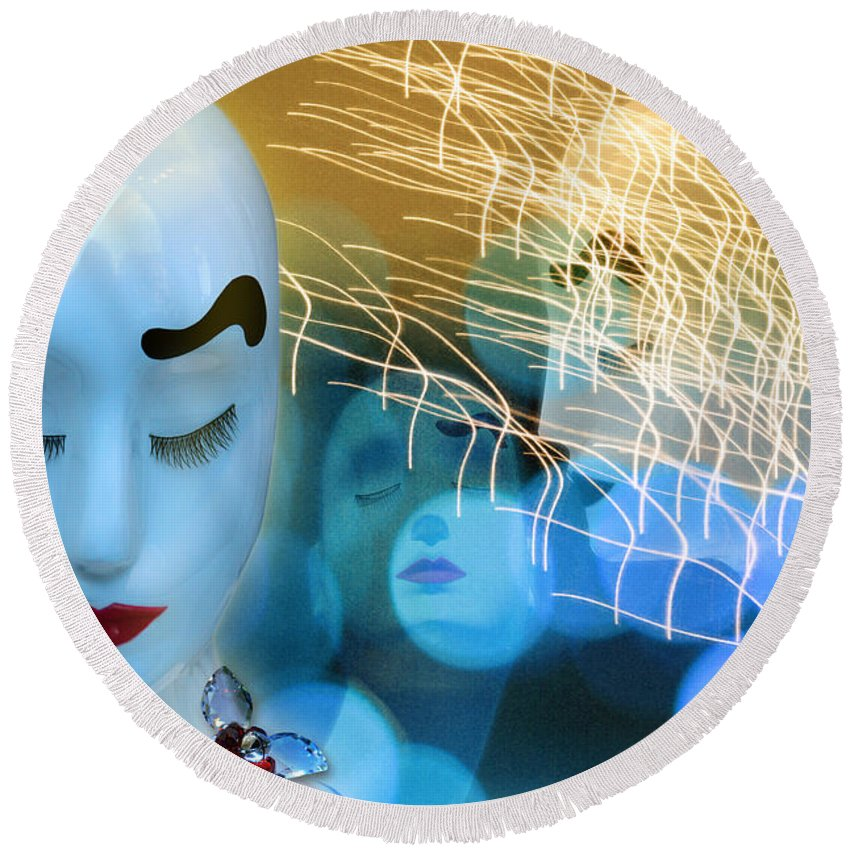 Mannequins Round Beach Towel featuring the digital art Virginal Shyness by Rosa Cobos