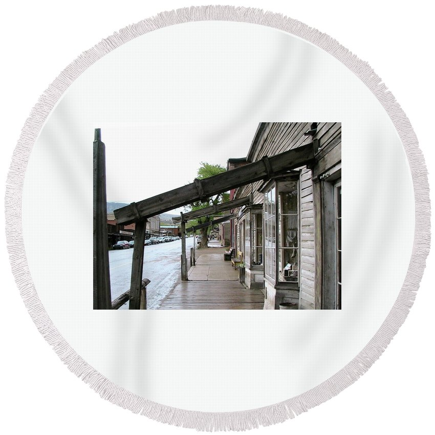 Virginia City Round Beach Towel featuring the photograph Virginia City Montana 03 by Thomas Woolworth