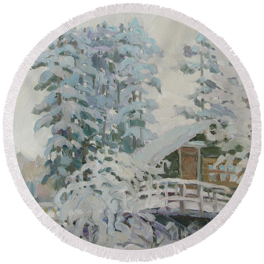 Winter Round Beach Towel featuring the painting Visiting Fairy Tales by Juliya Zhukova