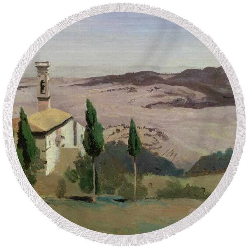 Volterra Round Beach Towel featuring the painting Volterra by Jean Baptiste Camille Corot