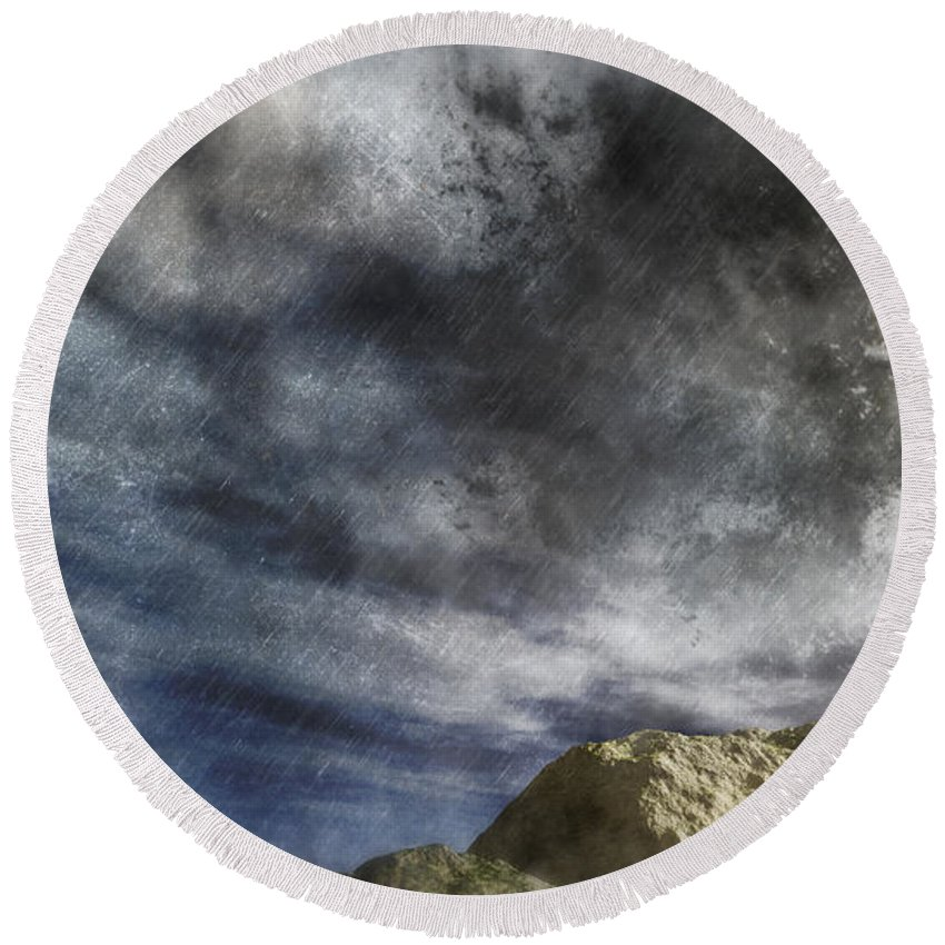 Vortex Round Beach Towel featuring the digital art Vortex In The Sky by Georgiana Romanovna