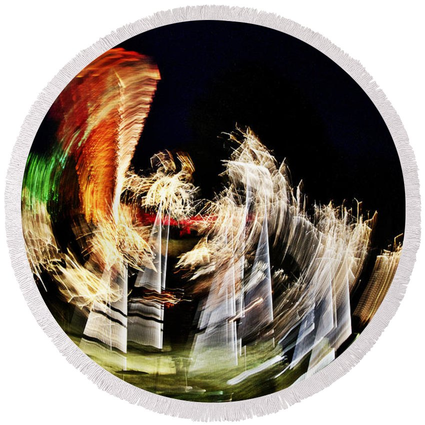 Night Round Beach Towel featuring the photograph Vortex Of Light by Heiko Koehrer-Wagner
