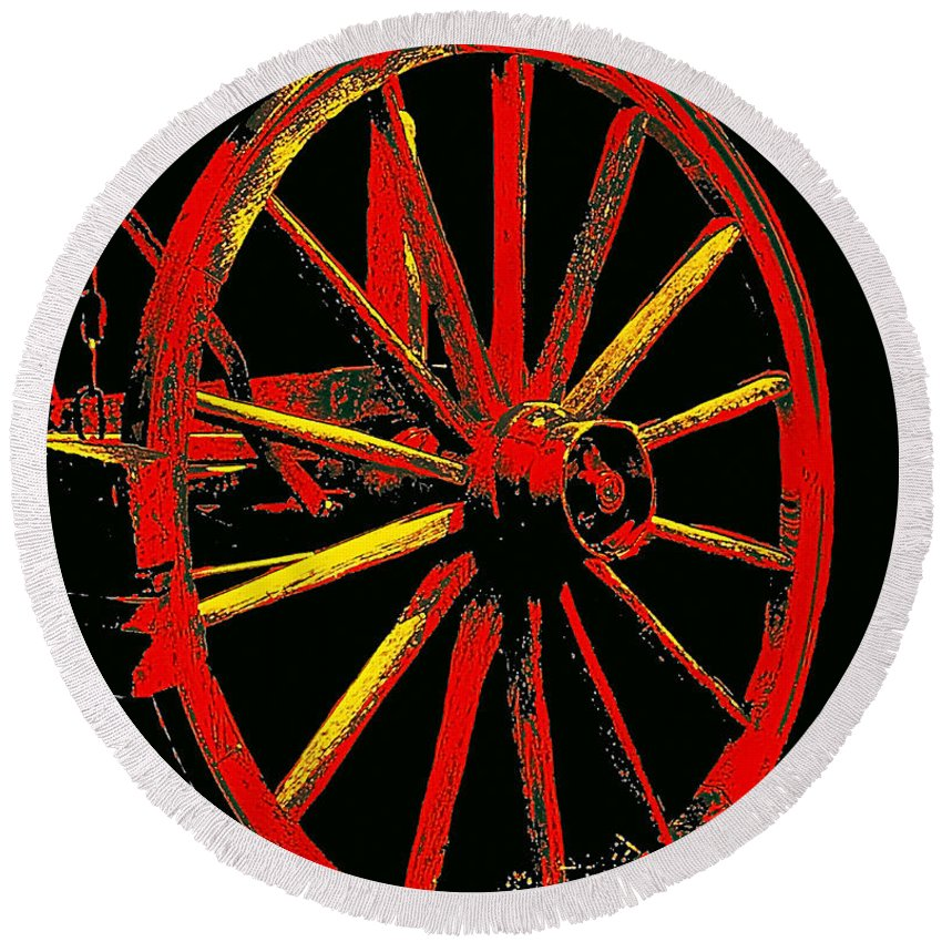 Wagon Wheels Round Beach Towel featuring the photograph Wagon Wheel In Red by Rich Walter