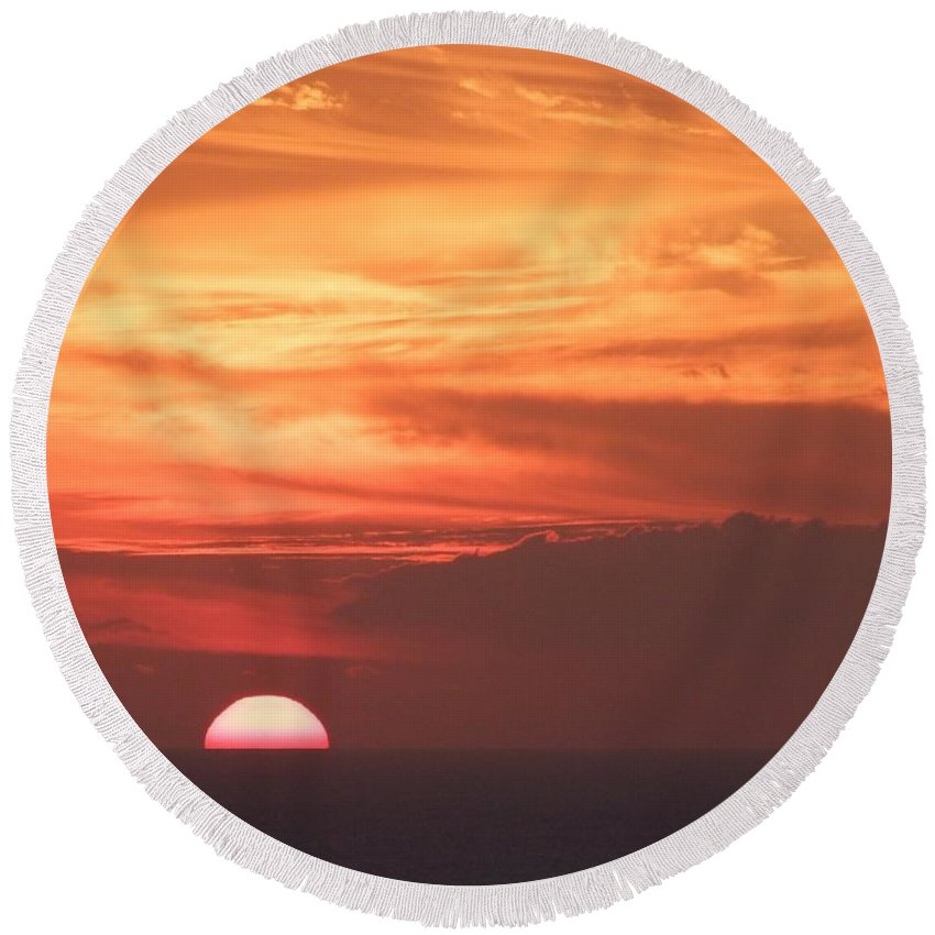 Mary Deal Round Beach Towel featuring the photograph Waikiki Sunset No 4 by Mary Deal