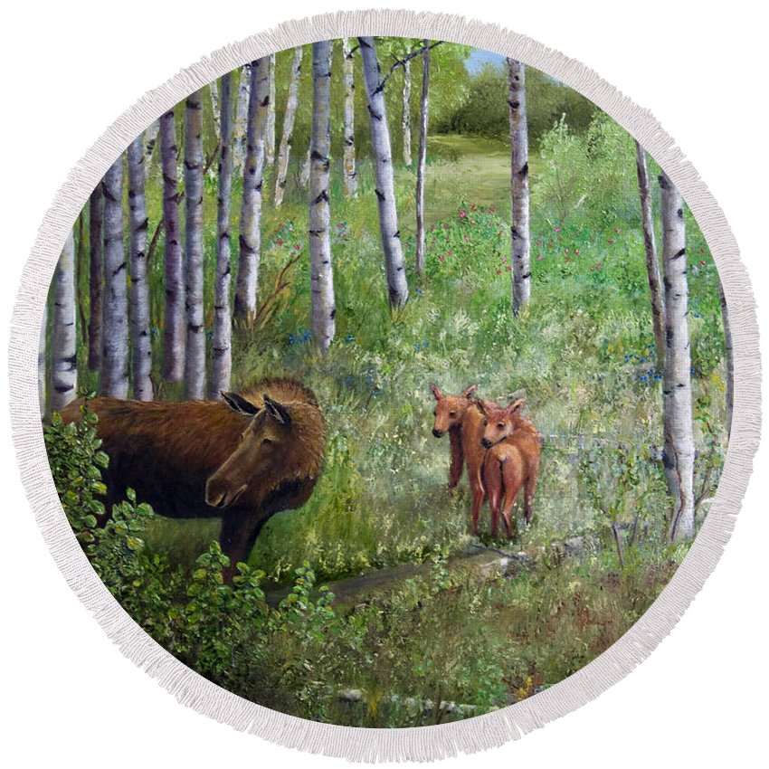 Moose Round Beach Towel featuring the painting Waiting For Mama by Dee Carpenter