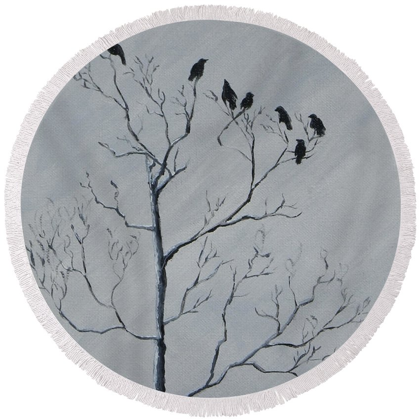 Birds Round Beach Towel featuring the painting Waiting For The Sun by Jackie Irwin