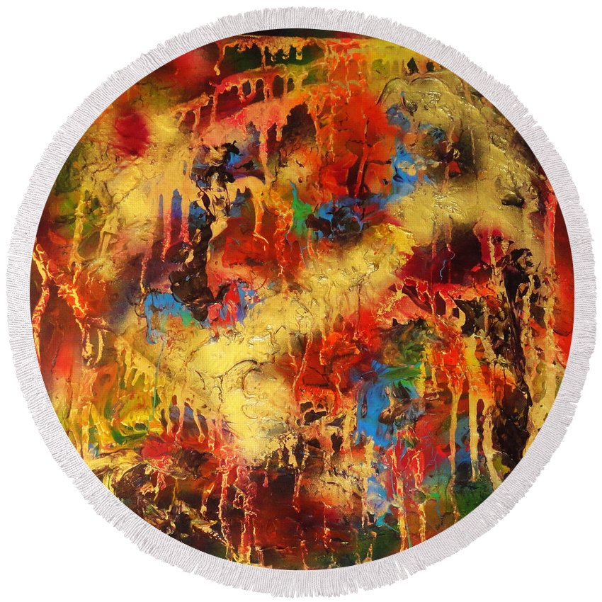 Abstract Round Beach Towel featuring the painting Walk Through The Fire by Yael VanGruber