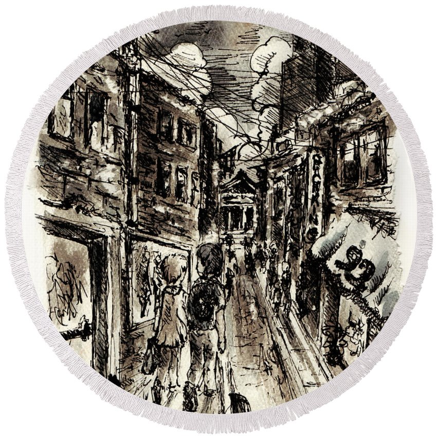 City Round Beach Towel featuring the painting Walkin In The City by William Russell Nowicki