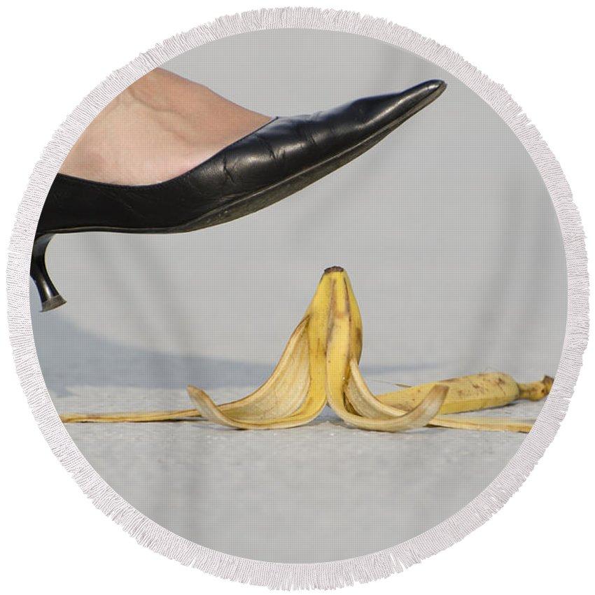 Banana Peel Round Beach Towel featuring the photograph Walking On Banana Peel by Mats Silvan