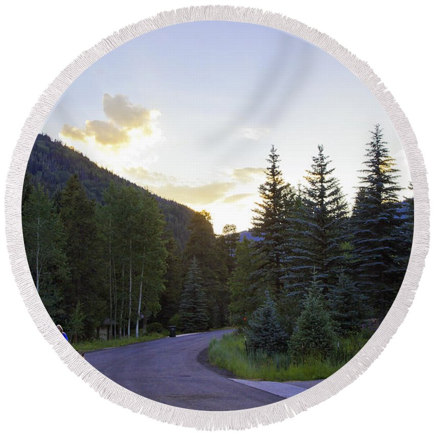 Vail Round Beach Towel featuring the photograph Walking The Dog In Vail by Madeline Ellis