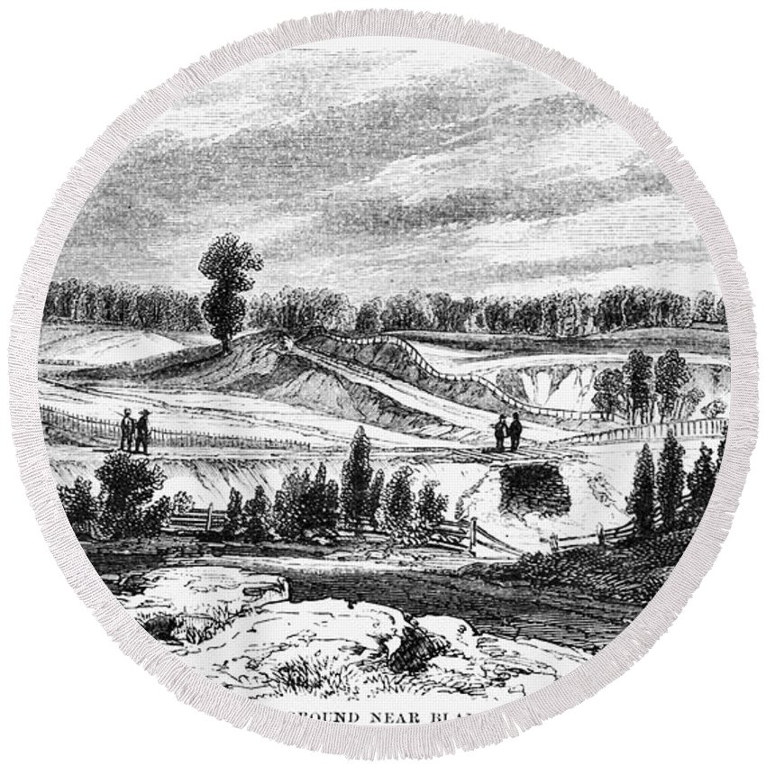 1814 Round Beach Towel featuring the photograph War Of 1812: Bladensburg by Granger