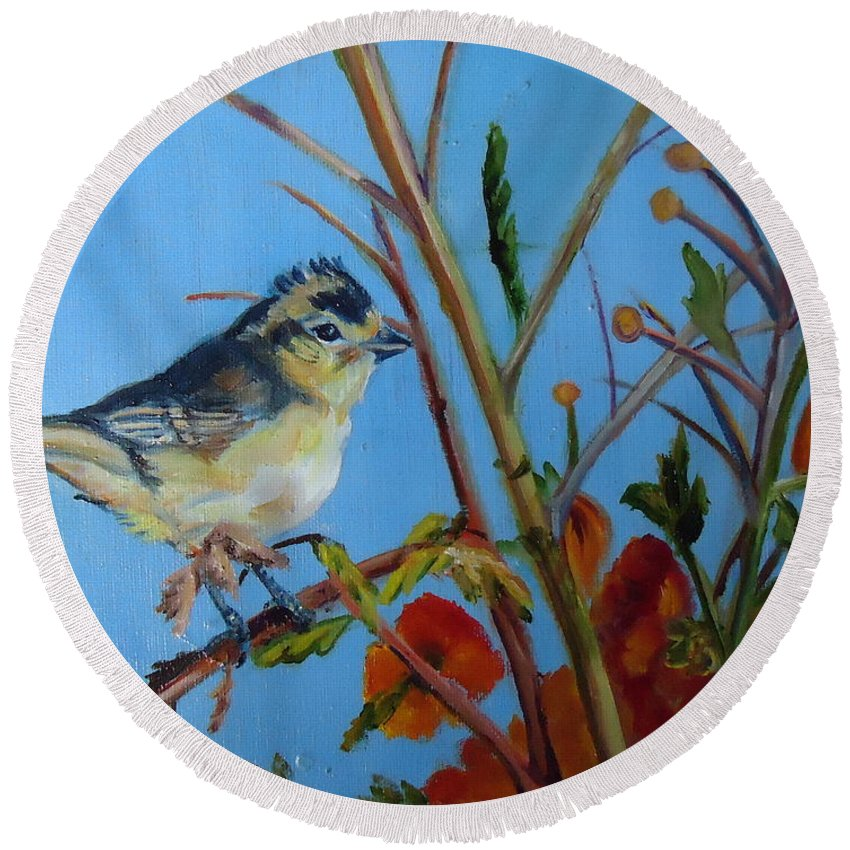 Warbling Verio Round Beach Towel featuring the painting Warbling Verio by Charme Curtin