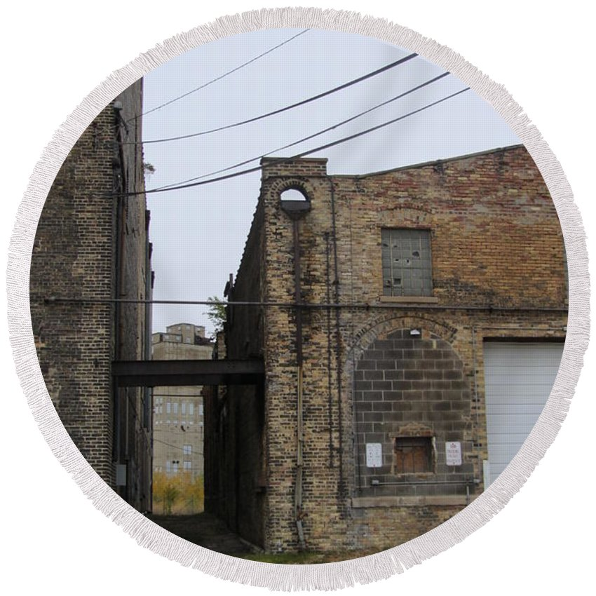Milwaukee Round Beach Towel featuring the painting Warehouse Beams And Drain Pipe by Anita Burgermeister