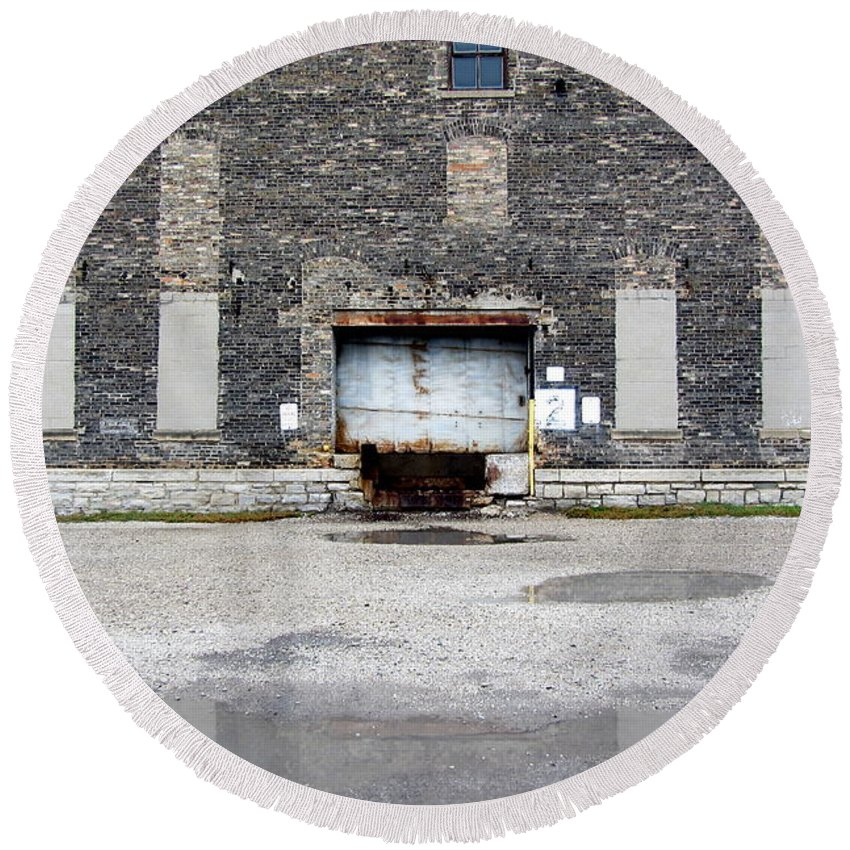 Milwaukee Round Beach Towel featuring the photograph Warehouse Loading Dock Door 3 by Anita Burgermeister