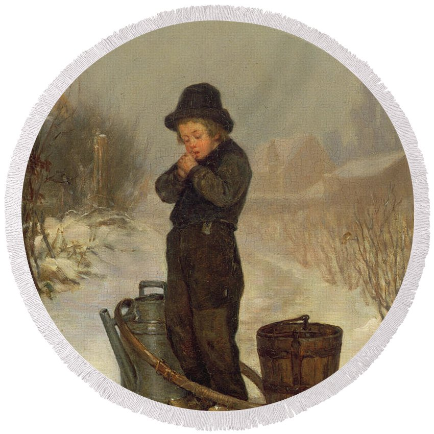 Child; Boy; Male; Snow; Cold; Snowy; Frozen; Buckets; Bucket; Pail; Pails; Winter; Landscape; Victorian; Collecting Water Round Beach Towel featuring the painting Warming His Hands by Henry Bacon