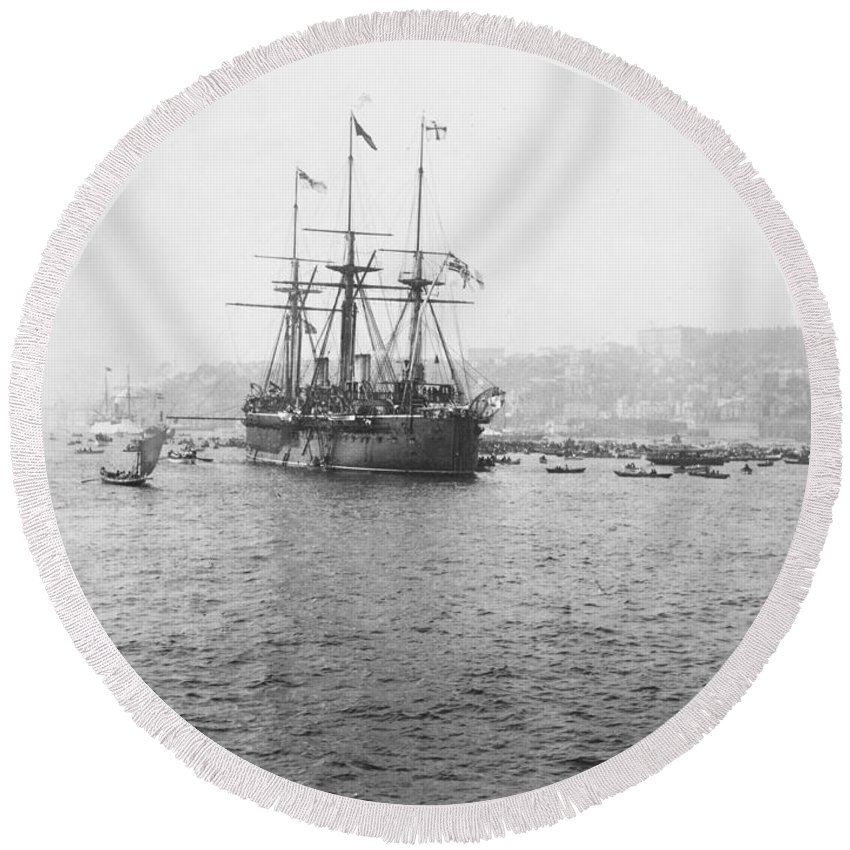 warship Kaiser Round Beach Towel featuring the photograph Warship Kaiser On Which Kaiser Wilhelm II Of Germany Came To Istanbul by International Images