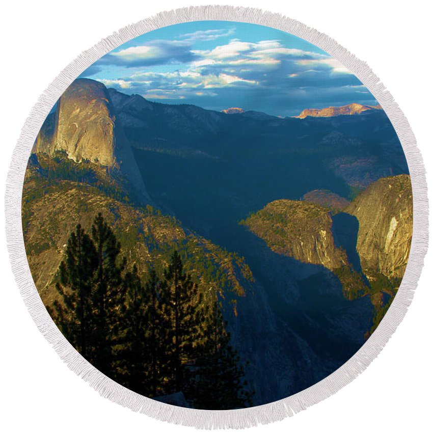 Half Dome Round Beach Towel featuring the photograph Washburn Sunset by Adam Jewell