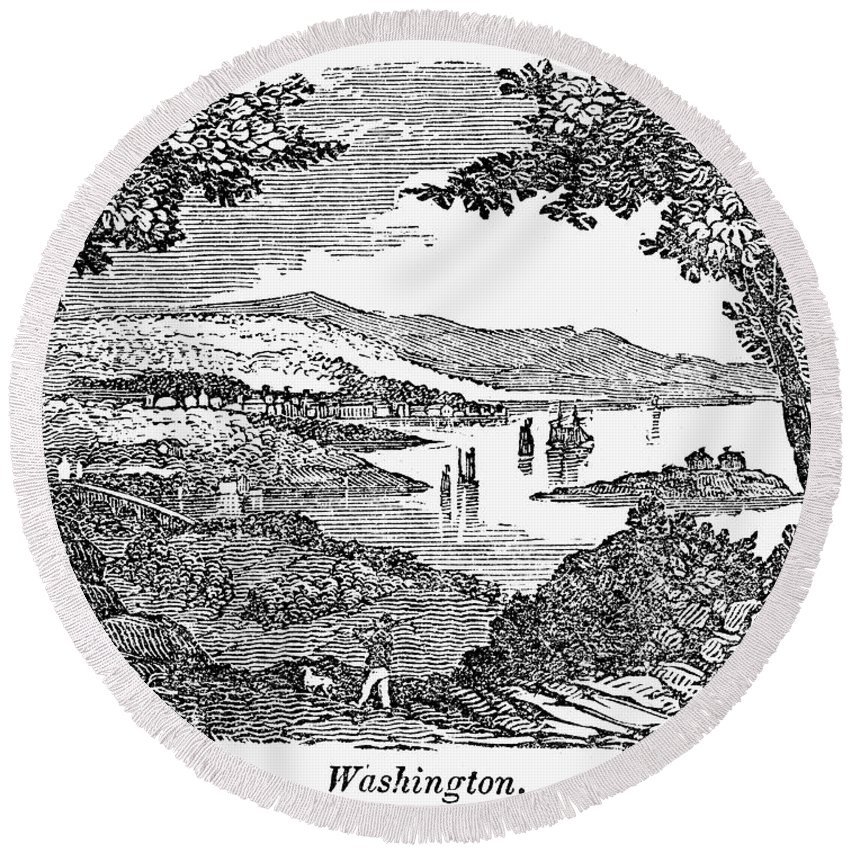 1840 Round Beach Towel featuring the photograph Washington, D.c., 1840 by Granger