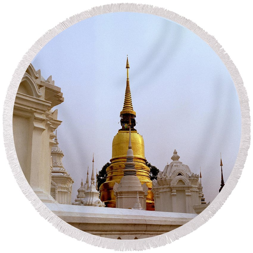 Asia Round Beach Towel featuring the photograph Wat Suan Dok Royal Cemetery by Shaun Higson