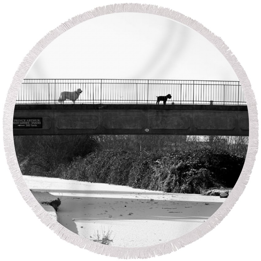 Burton On Trent Round Beach Towel featuring the photograph Watch Dogs by Rod Johnson