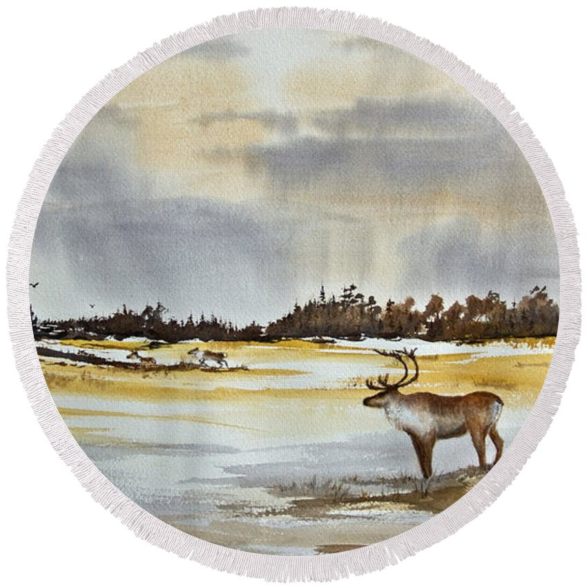 Caribou Round Beach Towel featuring the painting Watching The Herd by Dee Carpenter