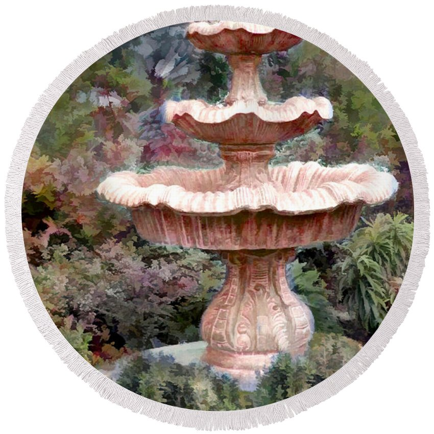 Round Beach Towel featuring the painting Water Fountain In The Forest by Elaine Plesser