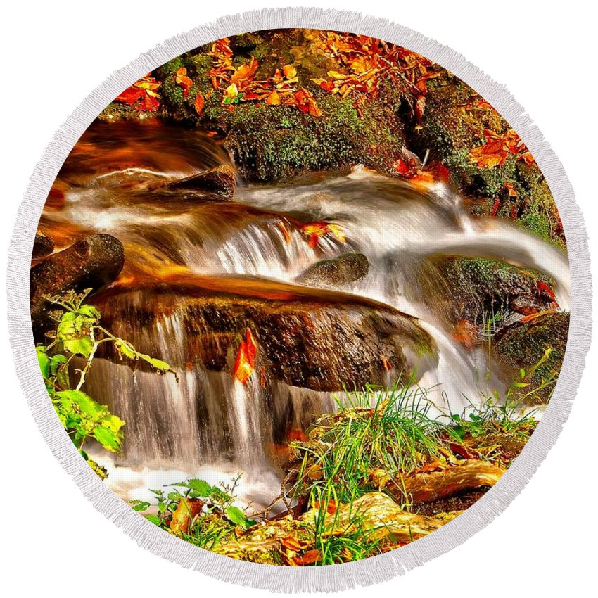Autumn Round Beach Towel featuring the photograph Water Over The Rocks by Nick Zelinsky