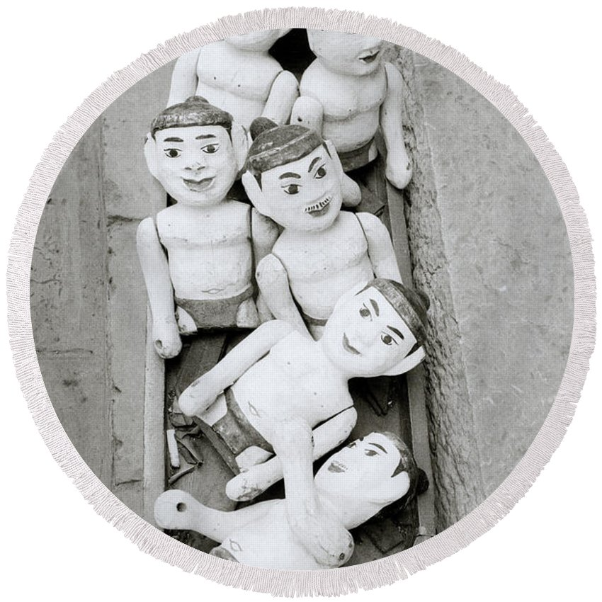 Asia Round Beach Towel featuring the photograph Water Puppets In Hanoi by Shaun Higson