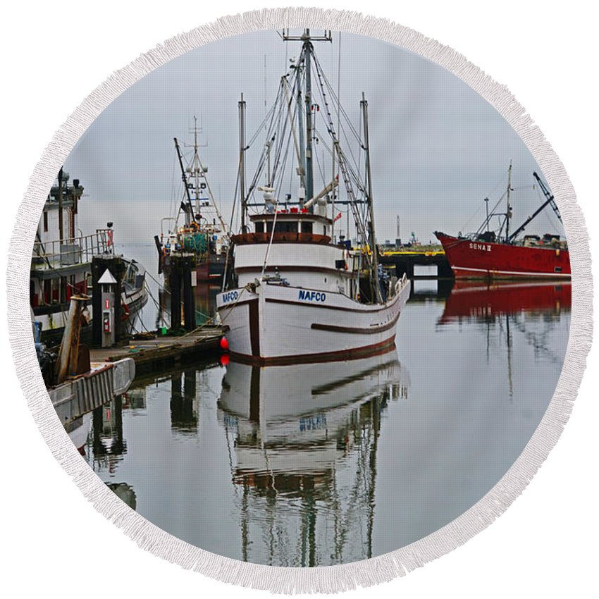 Fishing Boats Round Beach Towel featuring the photograph Water Reflections by Randy Harris