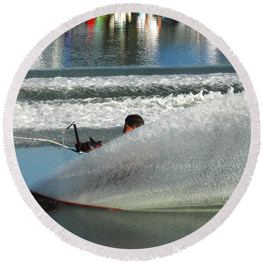 Water Skiing Round Beach Towel featuring the photograph Water Skiing Magic Of Water 17 by Bob Christopher