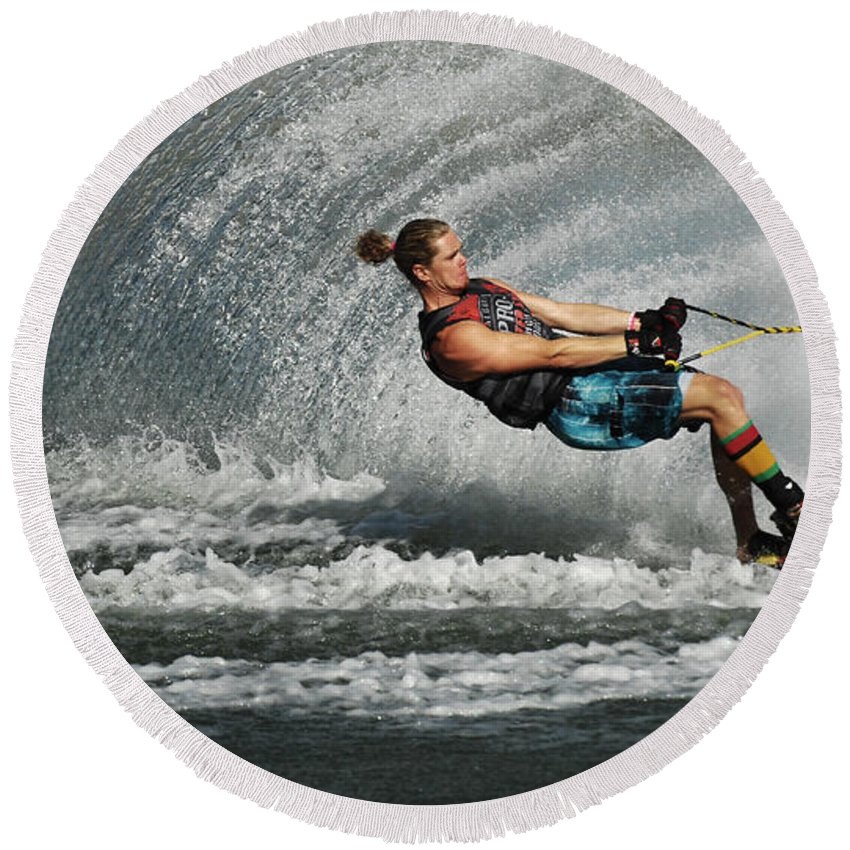 Water Skiing Round Beach Towel featuring the photograph Water Skiing Magic Of Water 23 by Bob Christopher