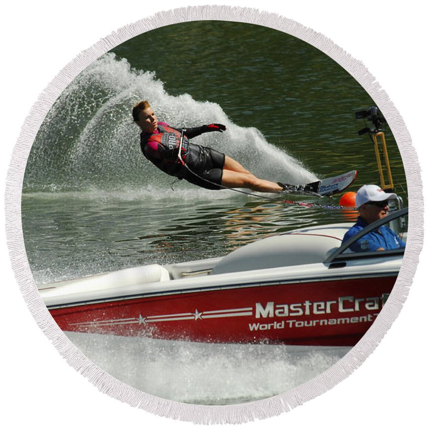Water Skiing Round Beach Towel featuring the photograph Water Skiing Magic Of Water 26 by Bob Christopher