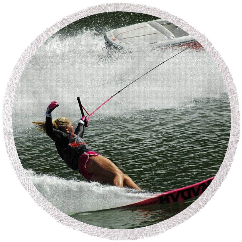 Water Skiing Round Beach Towel featuring the photograph Water Skiing Magic Of Water 28 by Bob Christopher