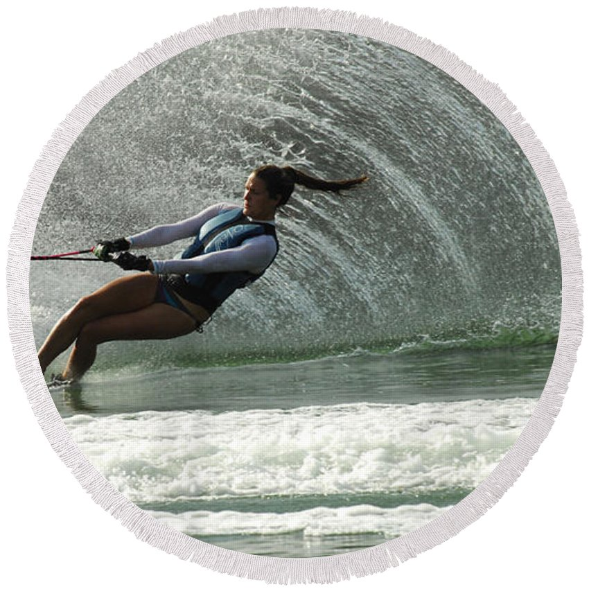 Water Skiing Round Beach Towel featuring the photograph Water Skiing Magic Of Water 32 by Bob Christopher