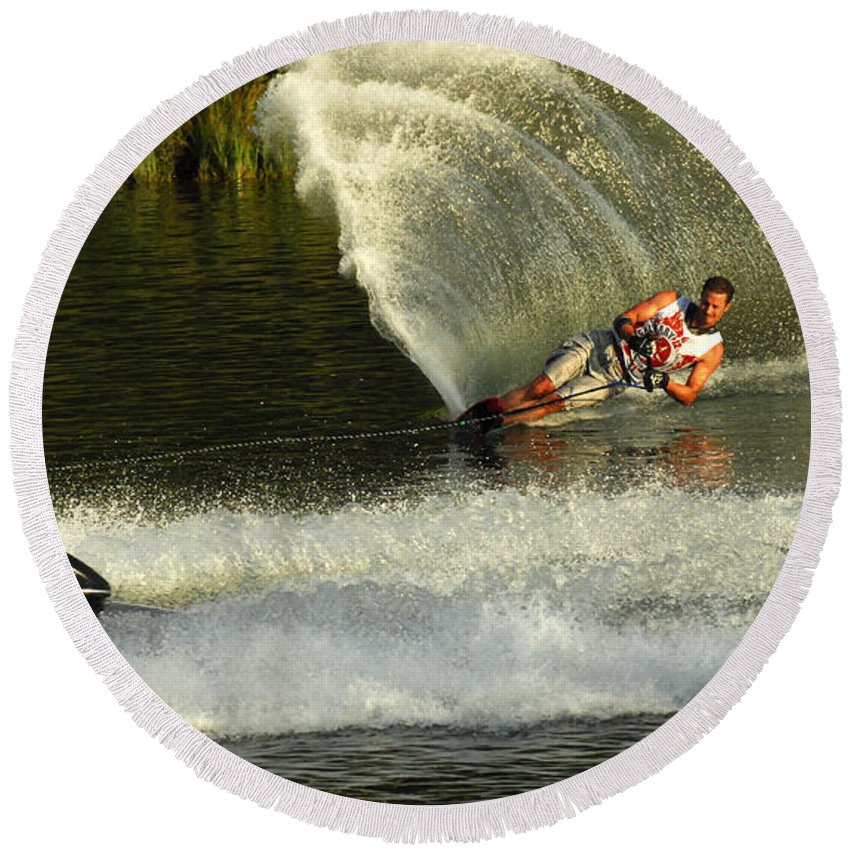 Water Skiing Round Beach Towel featuring the photograph Water Skiing Magic Of Water 33 by Bob Christopher