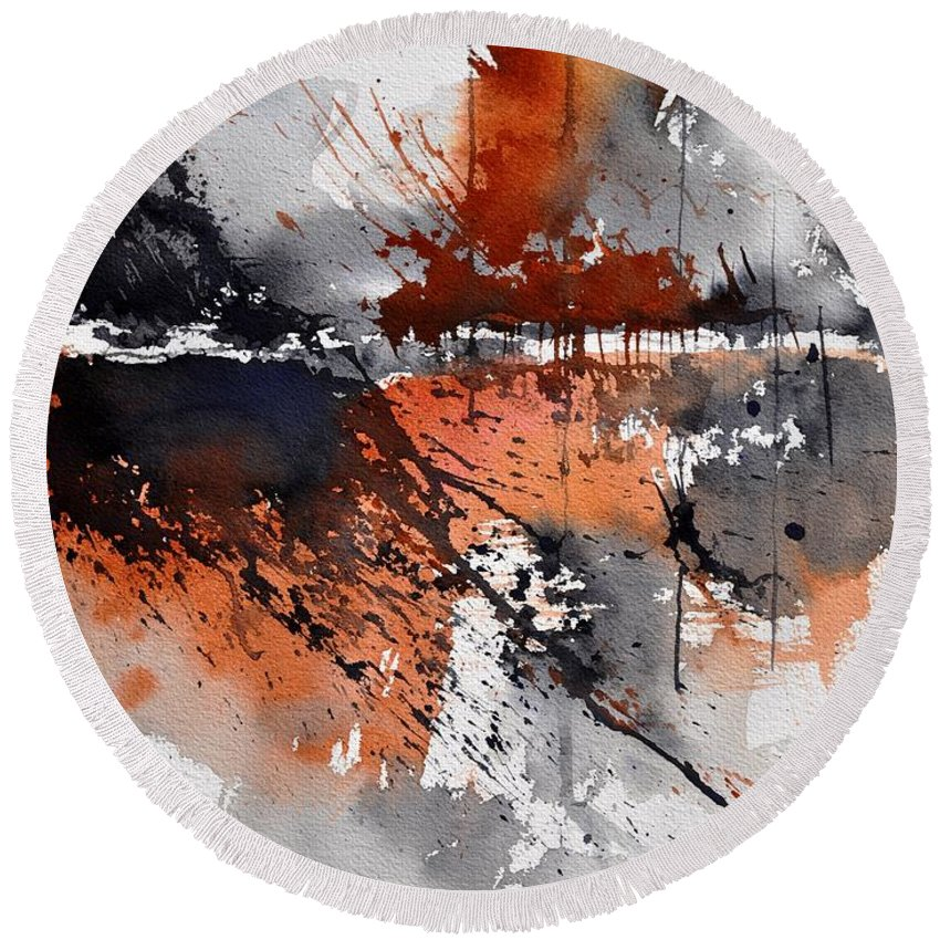 Abstract Round Beach Towel featuring the painting Watercolor 217031 by Pol Ledent