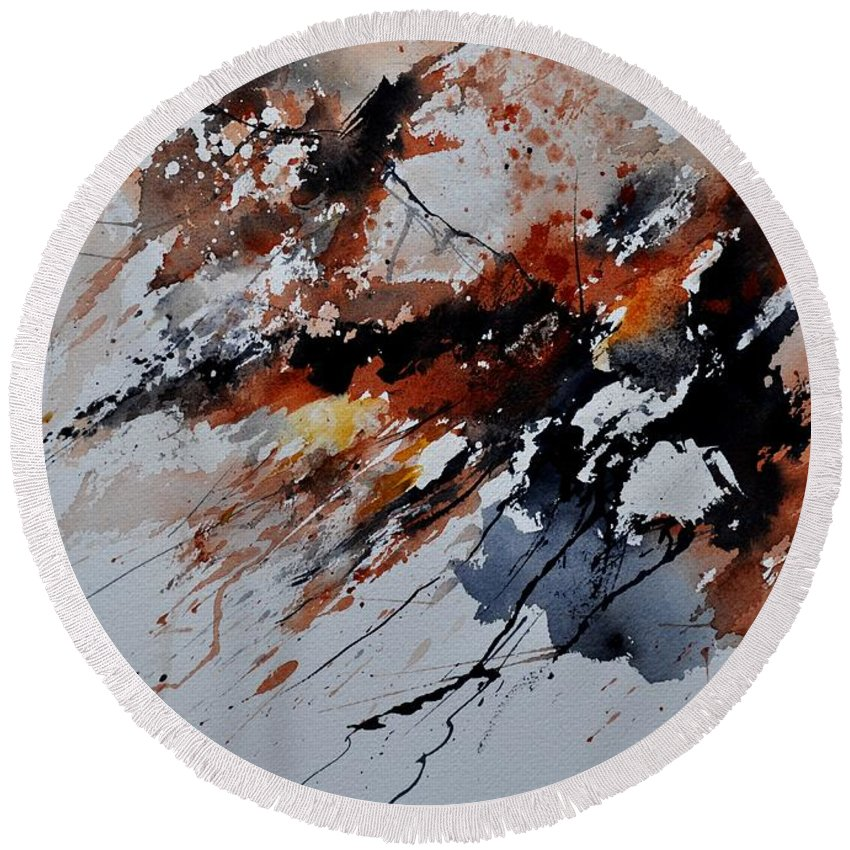 Abstract Round Beach Towel featuring the painting Watercolor 217041 by Pol Ledent