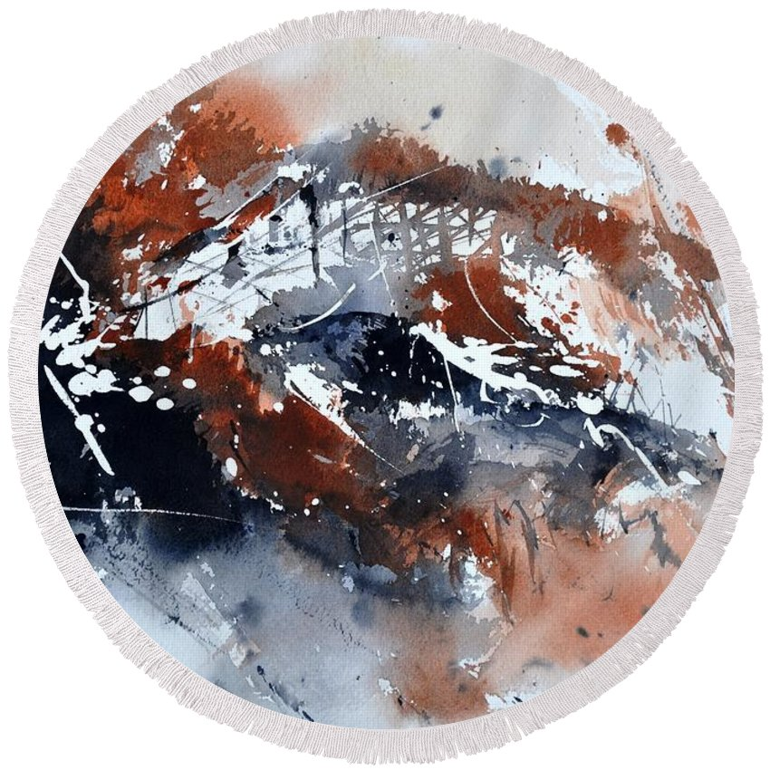 Abstract Round Beach Towel featuring the painting Watercolor 217051 by Pol Ledent