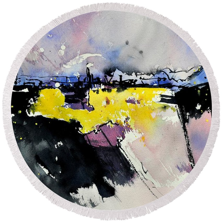 Abstract Round Beach Towel featuring the painting Watercolor 218012 by Pol Ledent