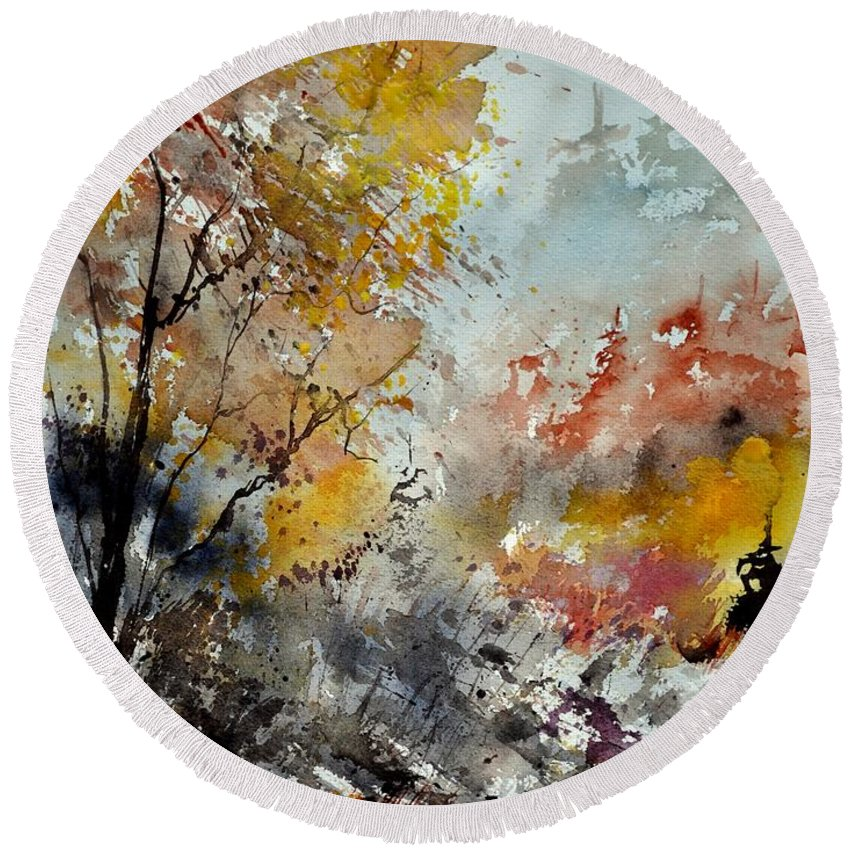 Landscape Round Beach Towel featuring the painting Watercolor 218022 by Pol Ledent